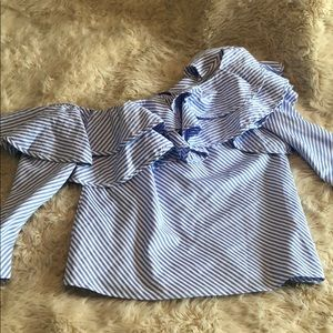 Blue and white striped one shoulder top